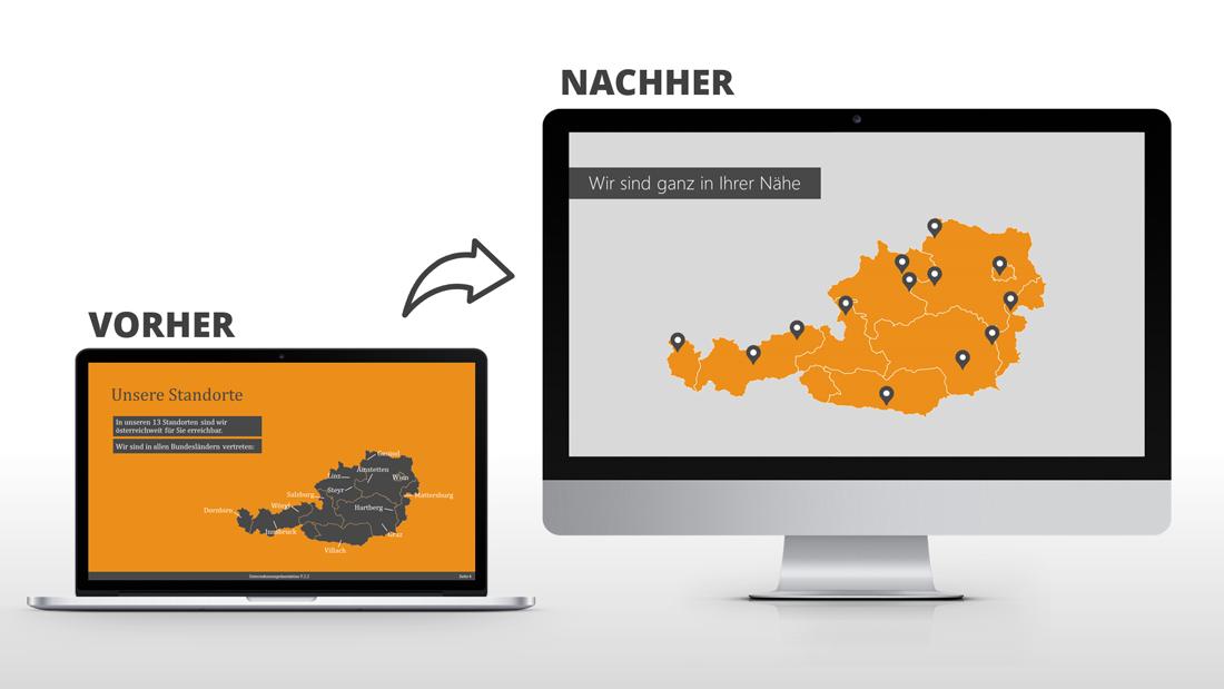 Vorher Nachher Beispiele PowerPoint Folie Landkarte